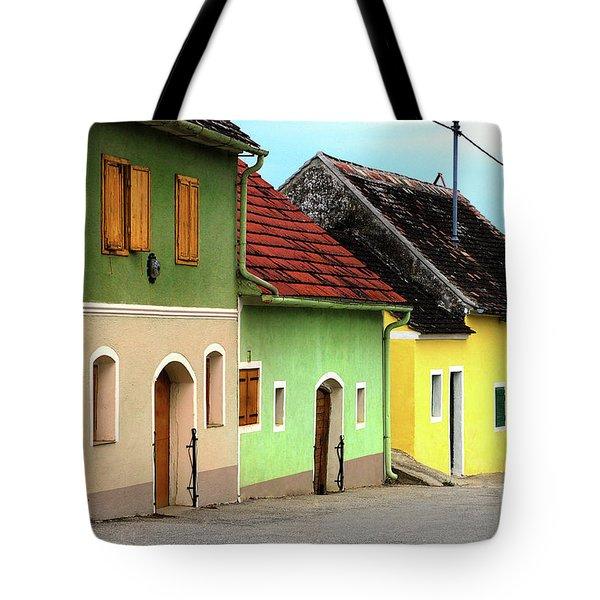 Street of Wine Cellar Houses  Tote Bag by Mariola Bitner