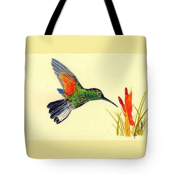Stripe Tailed Hummingbird Tote Bag by Michael Vigliotti