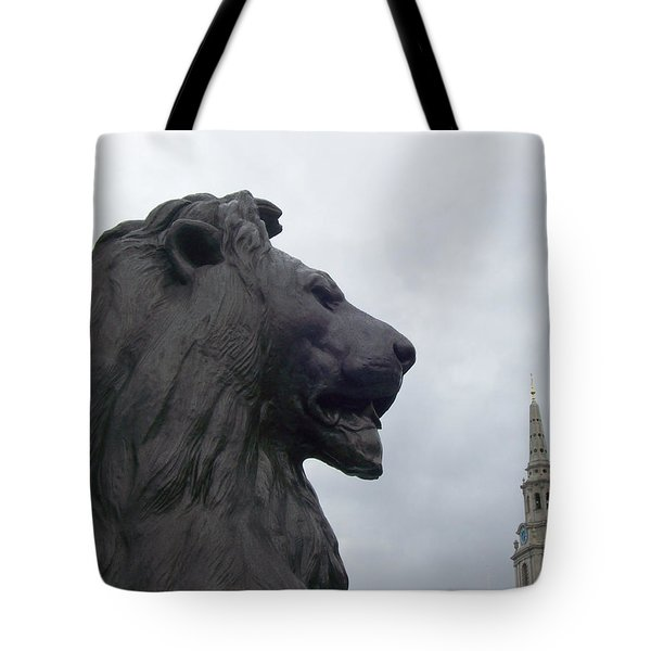 Strong Lion Tote Bag by Mary Mikawoz