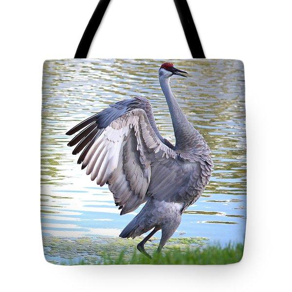 Strutting Sandhill Crane Tote Bag by Carol Groenen