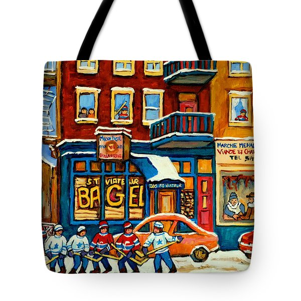 ST.VIATEUR BAGEL HOCKEY MONTREAL Tote Bag by CAROLE SPANDAU