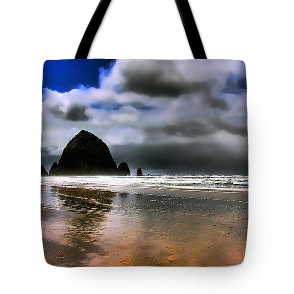 Sun Shining on Haystack Rock Tote Bag by David Patterson