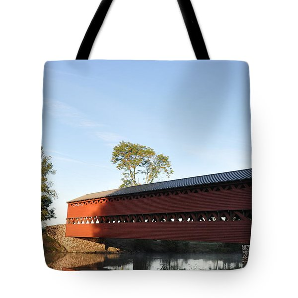 Sun Up at Sachs Covered Bridge Tote Bag by Bill Cannon