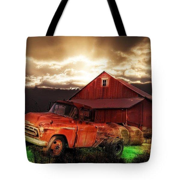 Sunburst At The Farm Tote Bag by Bill Cannon