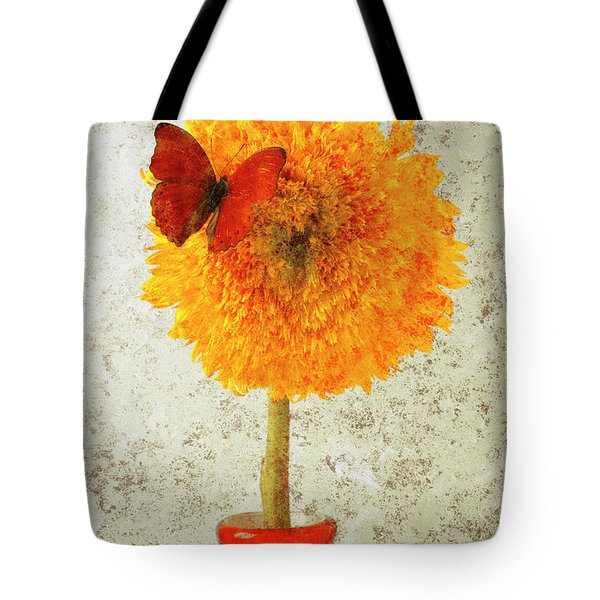 Sunflower and red butterfly Tote Bag by Garry Gay