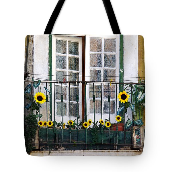 Sunflower balcony Tote Bag by Carlos Caetano