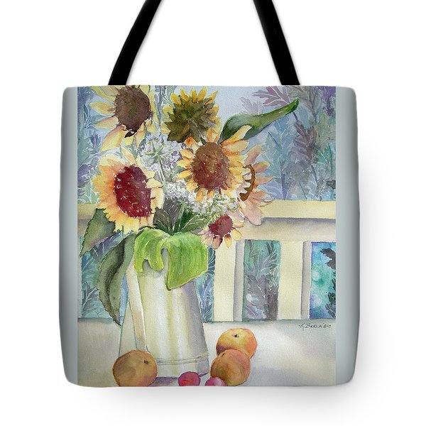 Sunflowers And Peaches Tote Bag by Katherine  Berlin