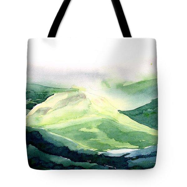 Sunlit Mountain Tote Bag by Anil Nene