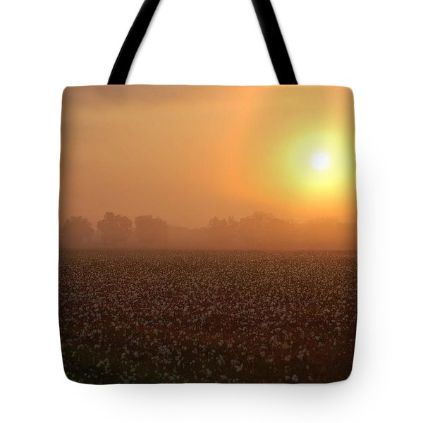 Sunrise And The Cotton Field Tote Bag by Michael Thomas