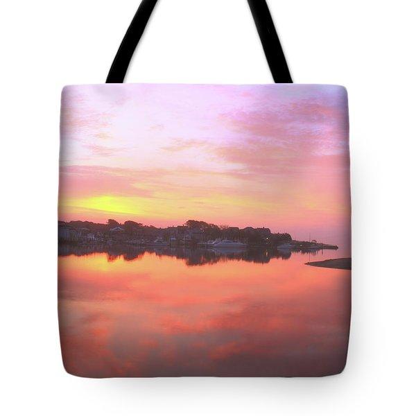 Sunrise Hyannis Harbor Tote Bag by Roupen  Baker