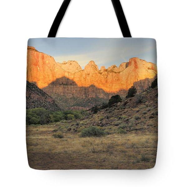 Sunrise On East Temple Tote Bag by Sandra Bronstein