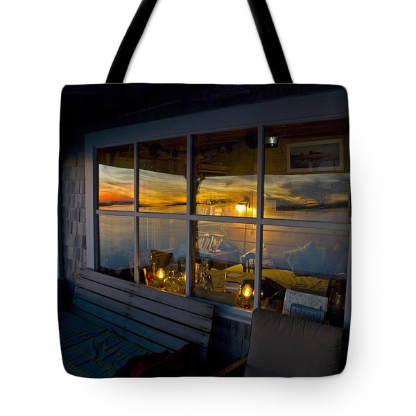 Sunset at Fletchers Camp Tote Bag by Charles Harden