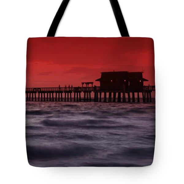 Sunset at Naples Pier Tote Bag by Melanie Viola