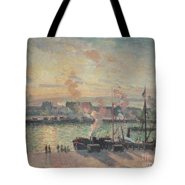 Sunset At Rouen Tote Bag by Camille Pissarro