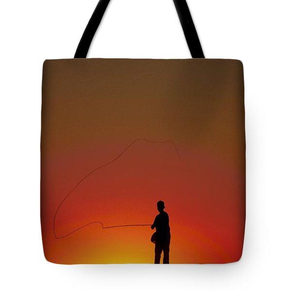 Sunset Casting Tote Bag by John Greim