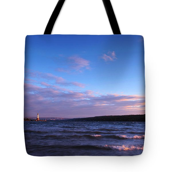Sunset on Cayuga Lake Ithaca Tote Bag by Paul Ge