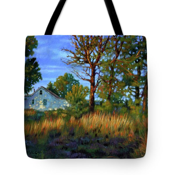 Sunset On Country Home Tote Bag by John Lautermilch