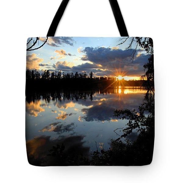 Sunset on Polly Lake Tote Bag by Larry Ricker