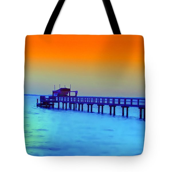 Sunset On The Pier Tote Bag by Bill Cannon