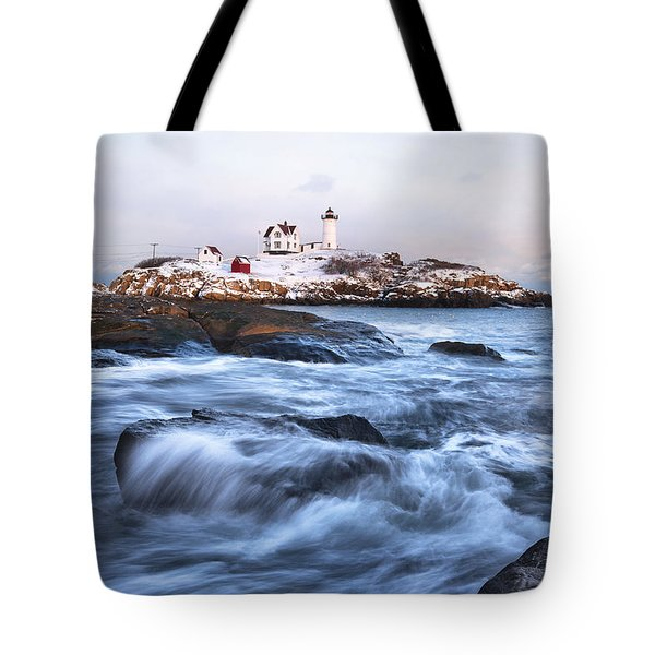 Sunset Over Nubble Light Tote Bag by Eric Gendron
