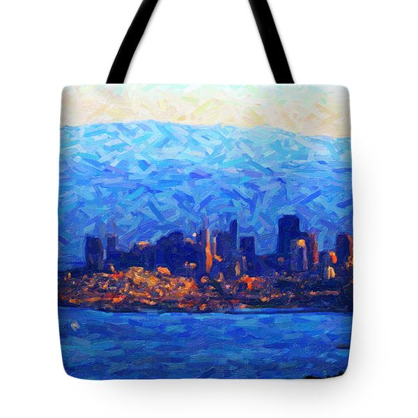 Sunset Over San Francisco Bay Tote Bag by Wingsdomain Art and Photography