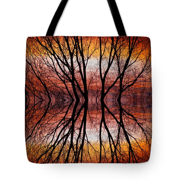 Sunset Tree Silhouette Abstract 2 Tote Bag by James BO  Insogna