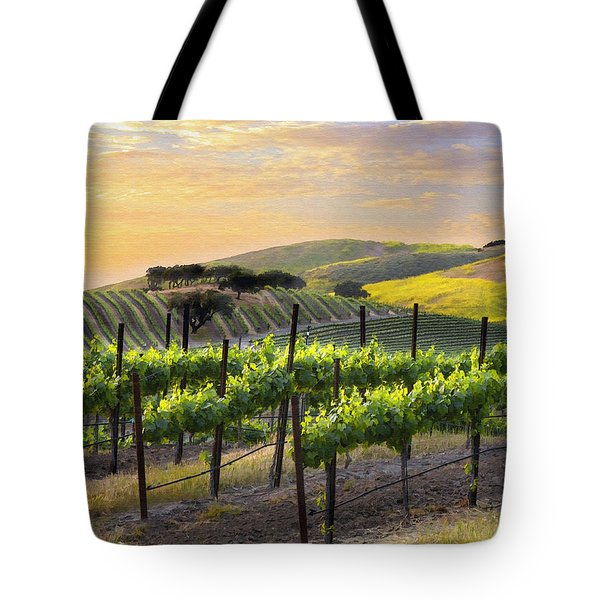 Sunset Vineyard Tote Bag by Sharon Foster