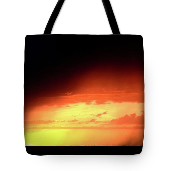 Sunset With Rain In Scenic Saskatchewan Tote Bag by Mark Duffy