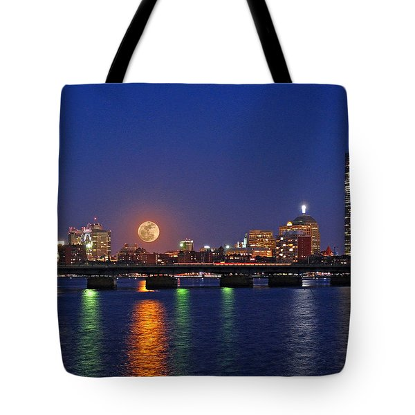 Super Moon Over Boston Tote Bag by Juergen Roth