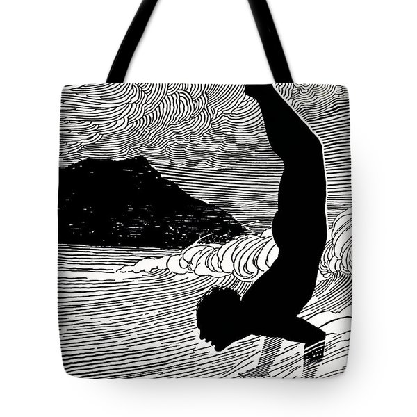 Surfer And Waikiki Tote Bag by Hawaiian Legacy Archive - Printscapes