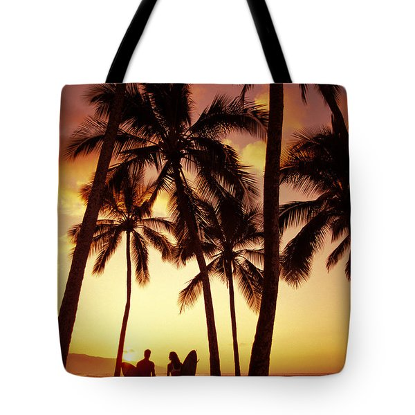 Surfer Couple Tote Bag by Dana Edmunds - Printscapes