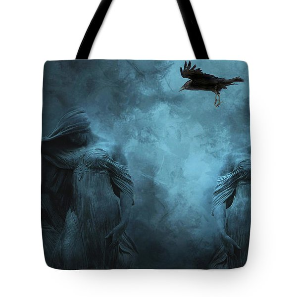 Surreal Gothic Cemetery Mourners And Raven Tote Bag by Kathy Fornal