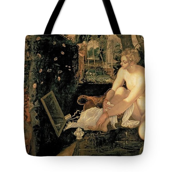 Susanna Bathing Tote Bag by Jacopo Robusti Tintoretto