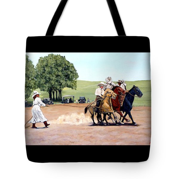 Suzzi Q. Whirling the Rope Tote Bag by Tom Roderick