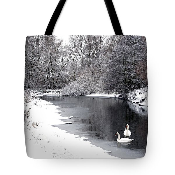 Swans In The Snow Tote Bag by Gary Eason