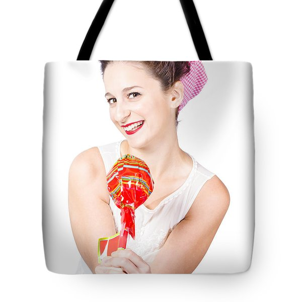 Sweet Lolly Shop Lady Offering Over Red Lollipop Tote Bag by Jorgo Photography - Wall Art Gallery