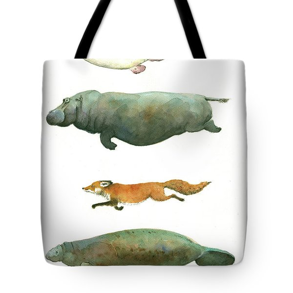 Swimming Animals Tote Bag by Juan Bosco