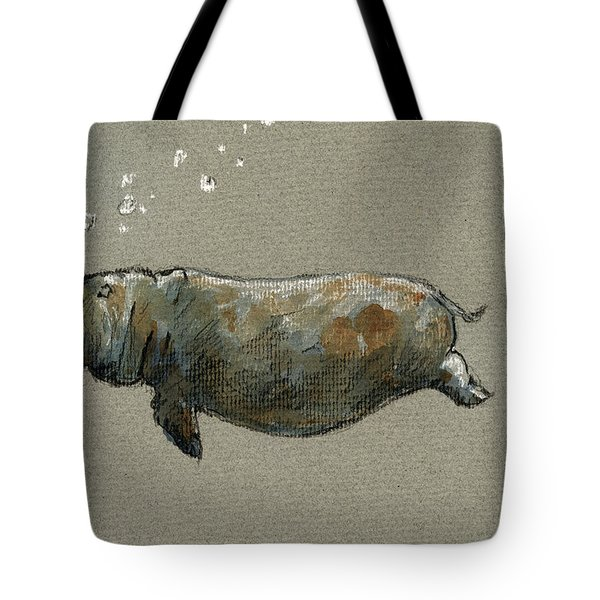 Swimming Hippo Tote Bag by Juan  Bosco