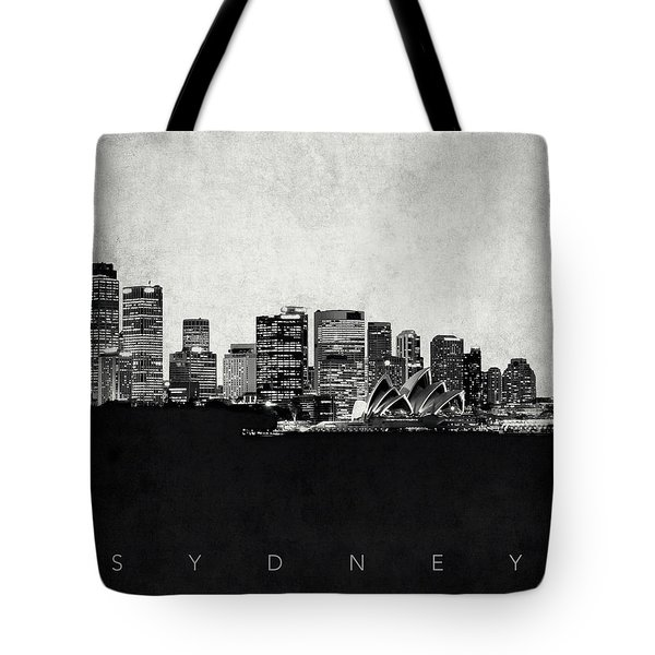 Sydney City Skyline With Opera House Tote Bag by World Art Prints And Designs