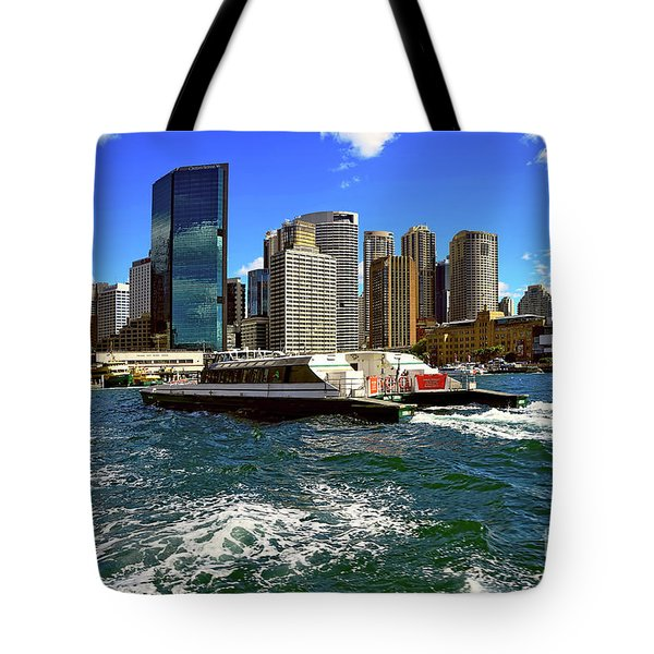 Sydney Skyline From Harbor By Kaye Menner Tote Bag by Kaye Menner