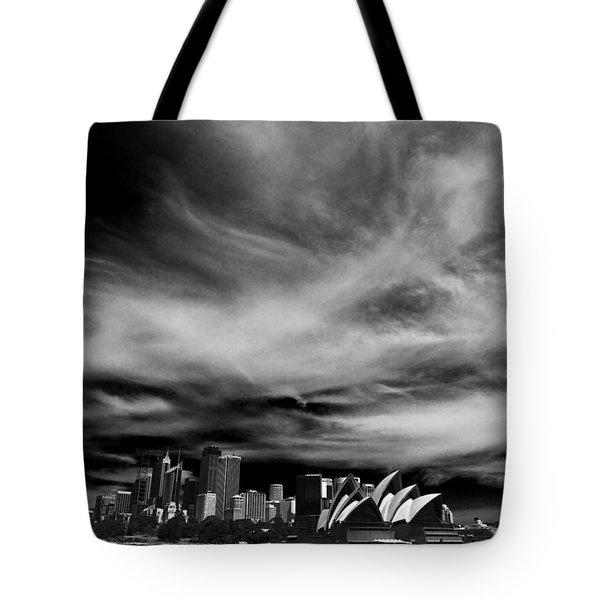 Sydney Skyline With Dramatic Sky Tote Bag by Avalon Fine Art Photography