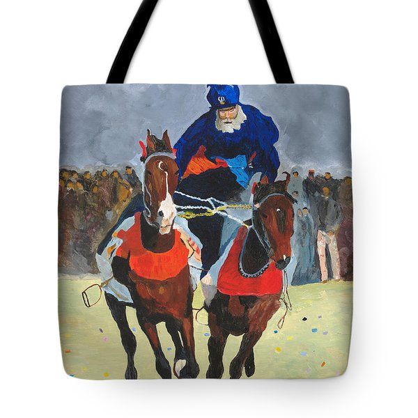 Tote Bag featuring the painting Syncronizing by Rodney Campbell