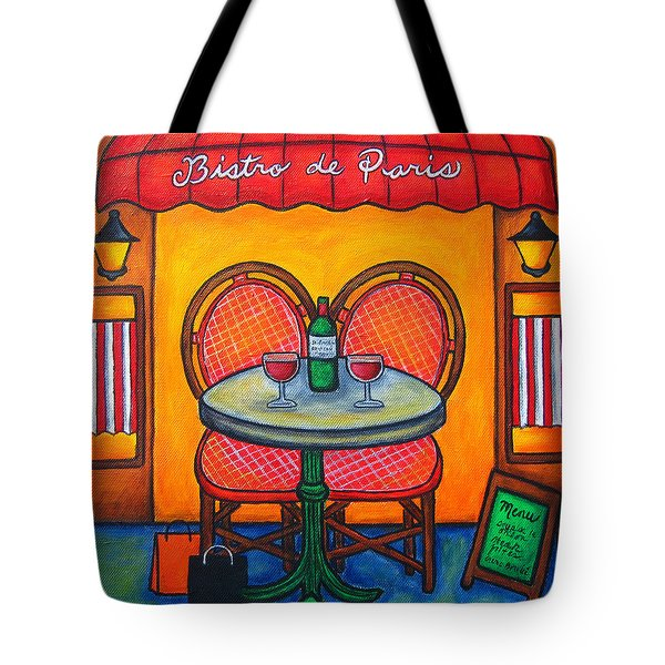 Table For Two In Paris Tote Bag by Lisa  Lorenz