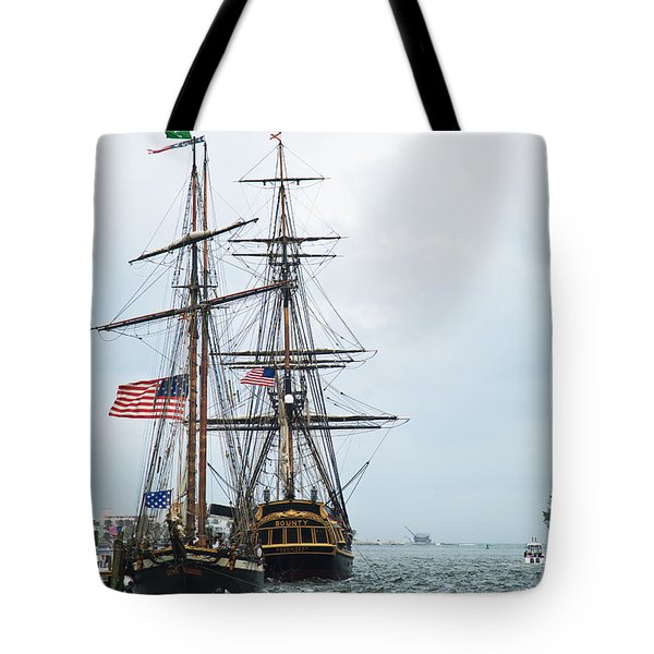 Tall Ships Hms Bounty And Privateer Lynx At Peanut Island Florida Tote Bag by Michelle Wiarda