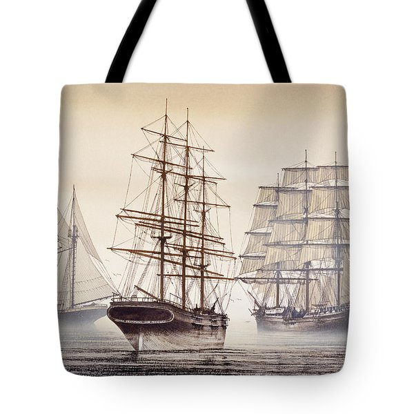 Tall Ships Tote Bag by James Williamson