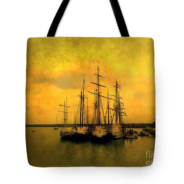 Tall Ships Of Dana Point Tote Bag by Kevin Moore
