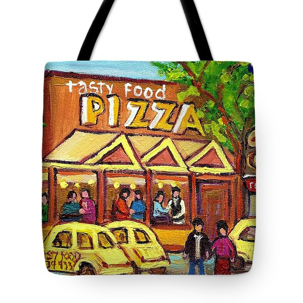 TASTY FOOD PIZZA ON DECARIE BLVD Tote Bag by CAROLE SPANDAU