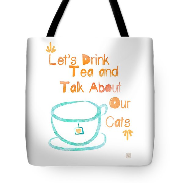Tea And Cats Square Tote Bag by Linda Woods