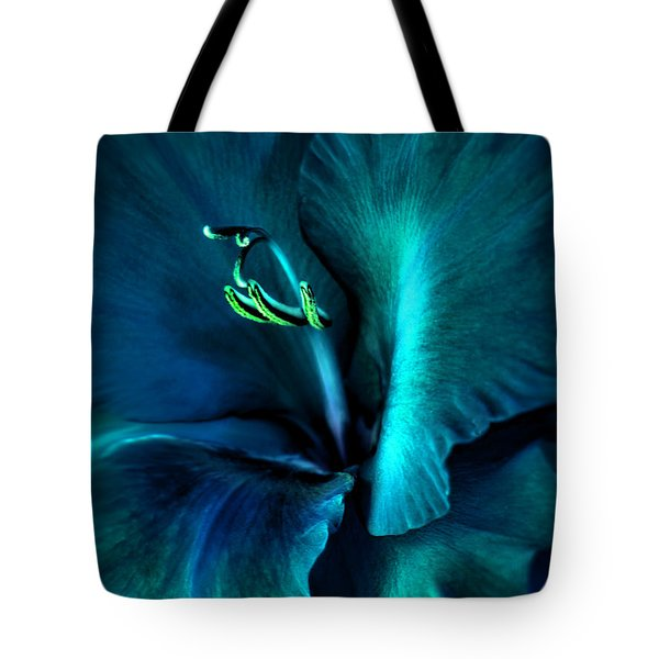 Teal Gladiola Flower Tote Bag by Jennie Marie Schell