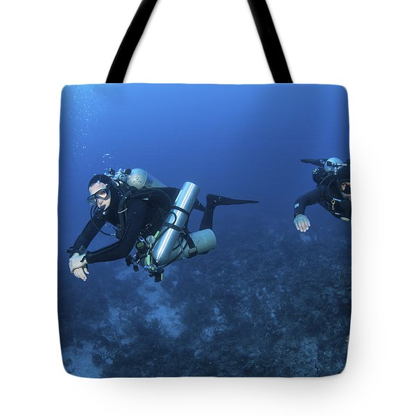 Technical Divers With Equipment Tote Bag by Karen Doody